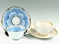 プラチナ牡丹・金ピンク牡丹輪花浅型 ペアコーヒーカップ&ソーサー