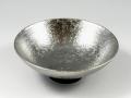 プラチナ濃黒釉掛分 平鉢