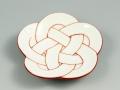 白磁赤線梅結び 小皿
