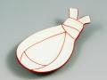 白磁赤線袋型結び 小皿
