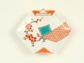 錦地紋に梅 折紙型手塩皿