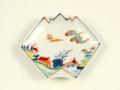 染錦山水 折紙型手塩皿
