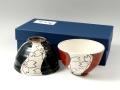 粉引流水桜 組茶碗