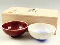 辰砂・藍染水滴 組茶碗