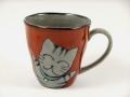 万歳猫(赤) マグカップ
