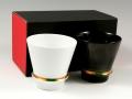 【有田焼 匠の蔵】 ハッピーリング(白・黒) ペア至高の焼酎グラス