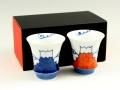 【有田焼 匠の蔵】 青富士・赤富士 ペア(反)SAKE GLASS(日本酒グラス)<オリジナル>