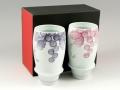 【有田焼 匠の蔵】 一珍ブドウ(紫・マロン) ペアプレミアムビアグラス<オリジナル>