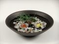 ミニ金魚3・黒陶鉢(小)セット(小石付)
