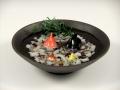 金魚2・ミニ金魚2・黒陶鉢(小)セット(小石付)