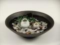 三つ蛙 大 小・黒陶鉢(小)セット(小石付)