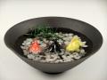 金魚3・黒陶鉢(大)セット(小石付)