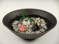 金魚2・三つ蛙 大 小・黒陶鉢(大)セット(小石付)
