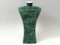 【村上玄輝 作品】緑彩蝶花文 尺角型花瓶