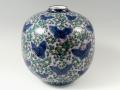 【村上玄輝 作品】灰濃蝶花文 7.5寸丸型花瓶