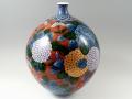 【村上玄輝 作品】朱濃紫陽花絵 尺1寸花瓶