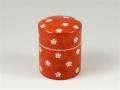 赤濃梅紋 茶筒(小)