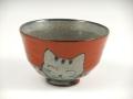 万歳猫 茶碗 小