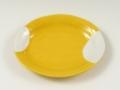 黄釉白抜 楕円皿