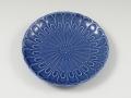 ライトブルー菊型 5寸皿