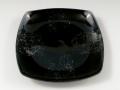 黒釉市松 7寸角皿