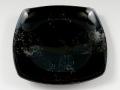 黒釉市松 8寸角皿
