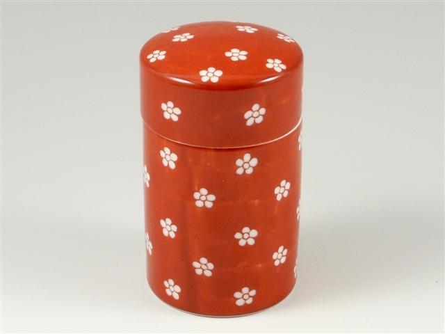 赤濃梅紋 茶筒(大)