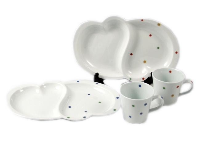 【結婚御祝 ギフトセレクト】色彩水玉 ペアハート仕切皿・ペアミニマグカップ