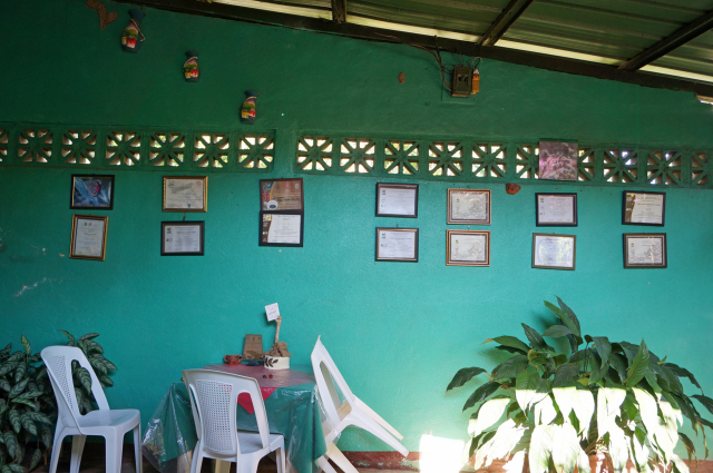 壁一面に数々の受賞履歴が飾られています