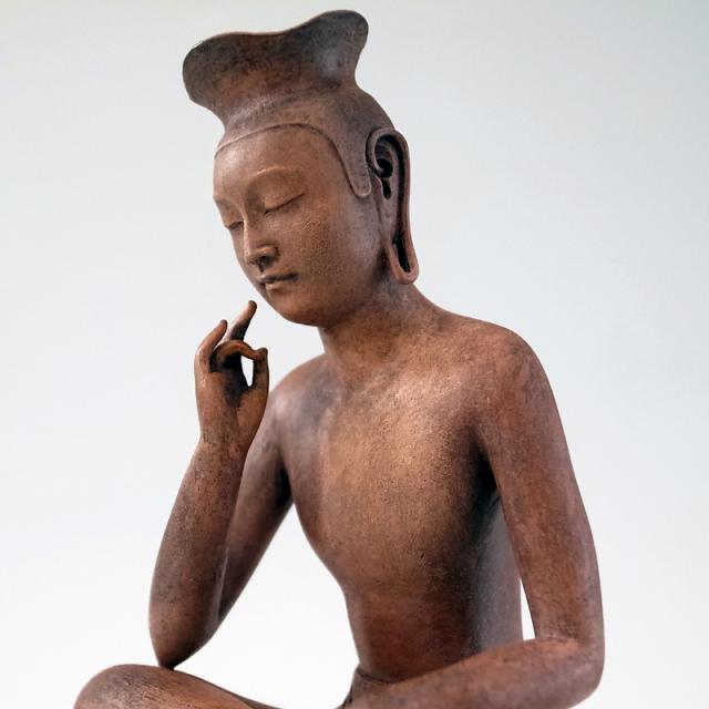 BuddhismArt 弥勒菩薩 (木彫古色彩色)