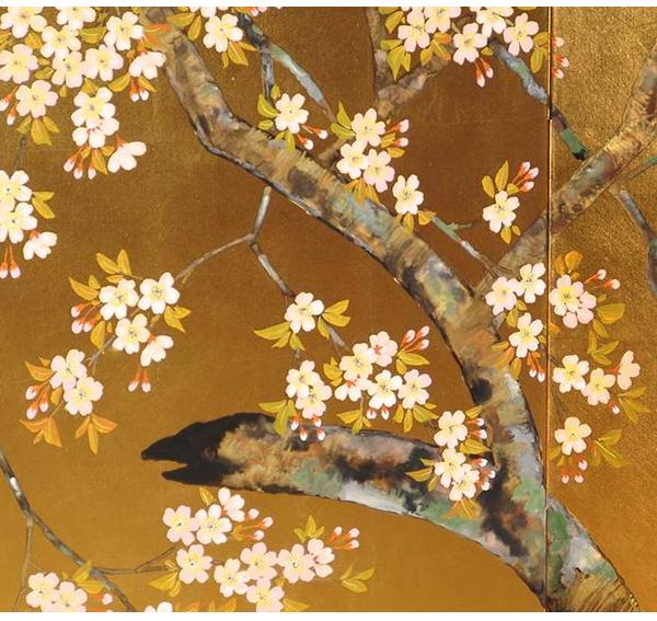 金屏風(桜) 葛谷聖山作