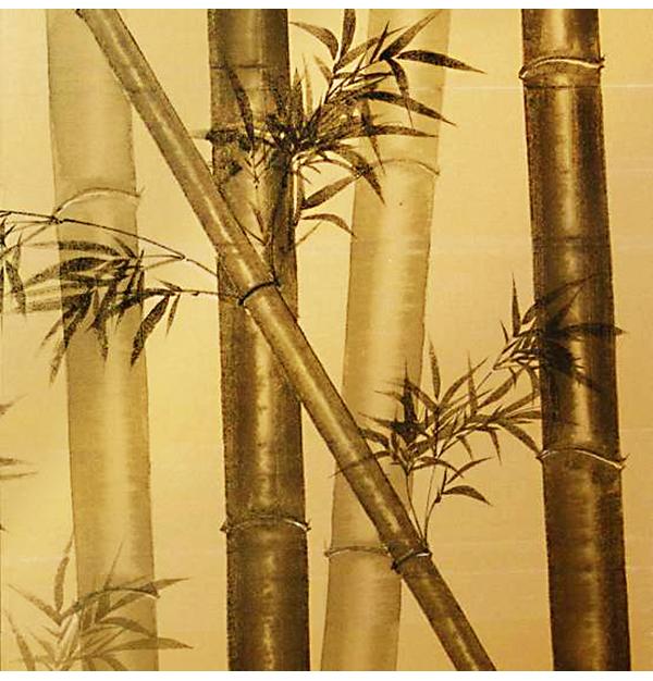 金屏風(竹と雀) 江崎順造作