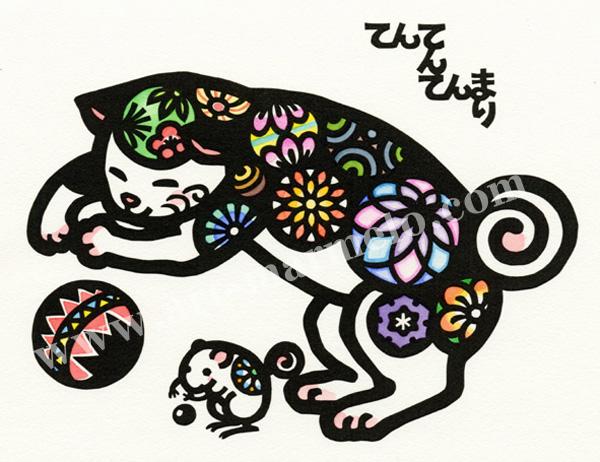 雨宮尚子の版画「毬と殿さま」