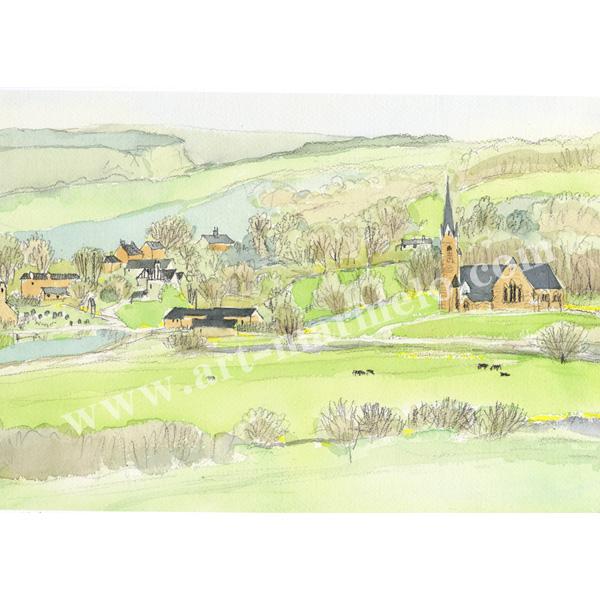 安野光雅の版画「イギリス、スコットランドの村」