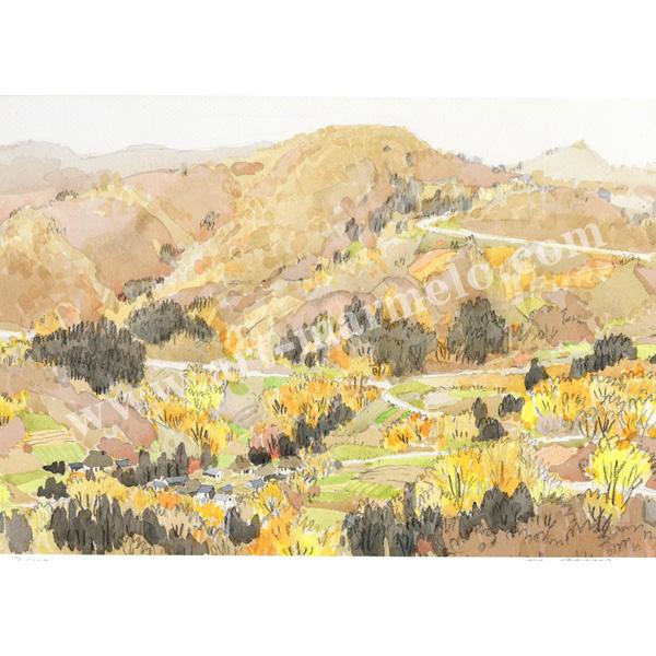 安野光雅の版画「安曇野、八坂村の秋」