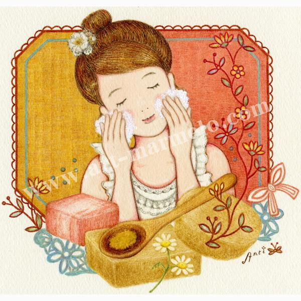 遠藤あんりの版画「カモミールとはちみつ石鹸」