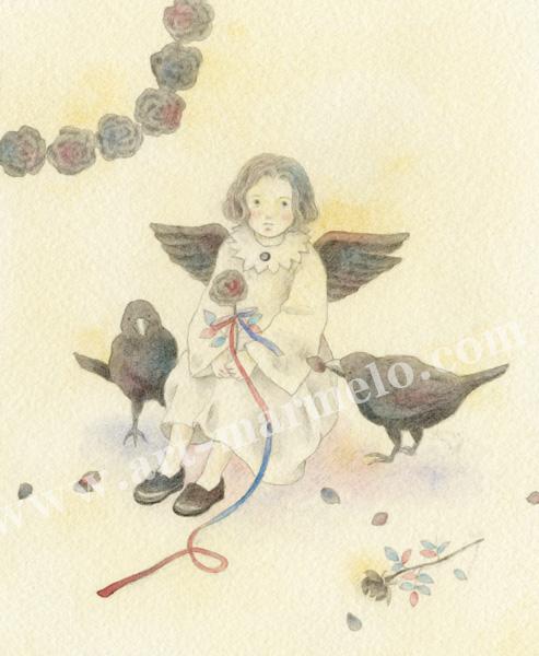 蓮田千尋の原画「カラスの天使」