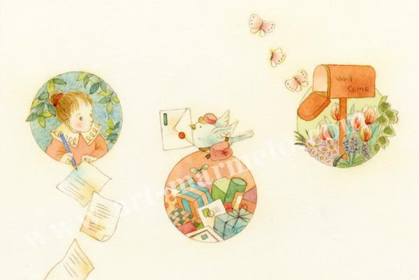 蓮田千尋の原画「みどり通信」