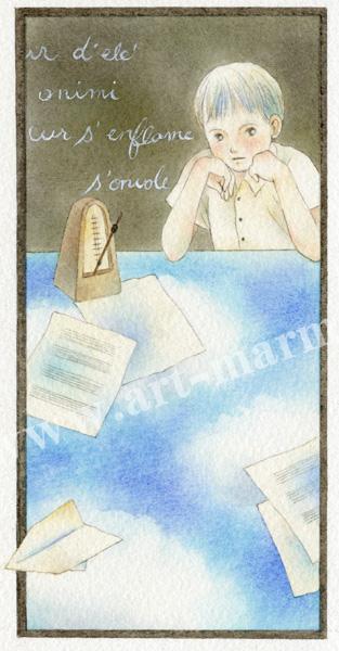 蓮田千尋の原画「紙ヒコーキ」
