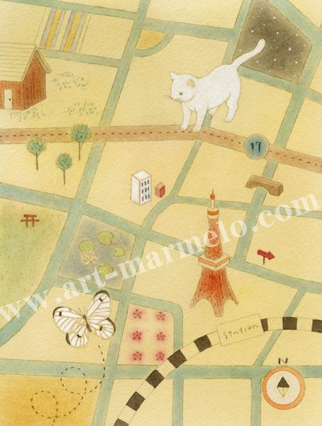 蓮田千尋の原画「猫の地図」