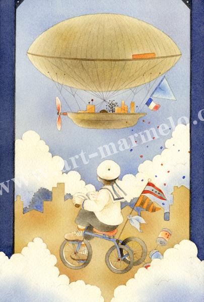 蓮田千尋の原画「飛行船」