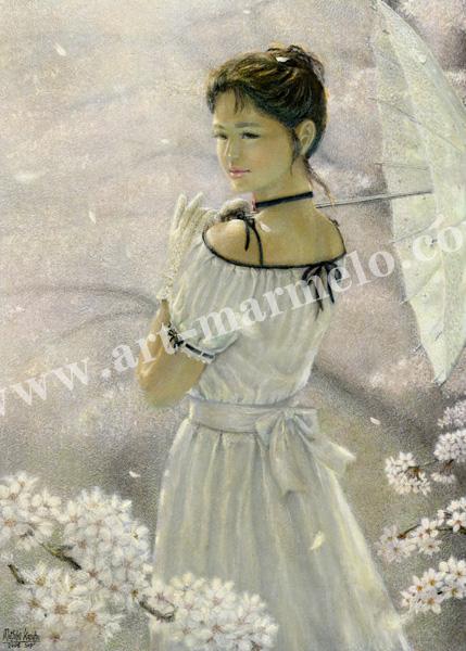 万葉睦月の原画「桜雨」(SAKURAME)