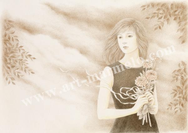 目黒直子の原画「明日」、版画の通販専門店アートロマルメロ