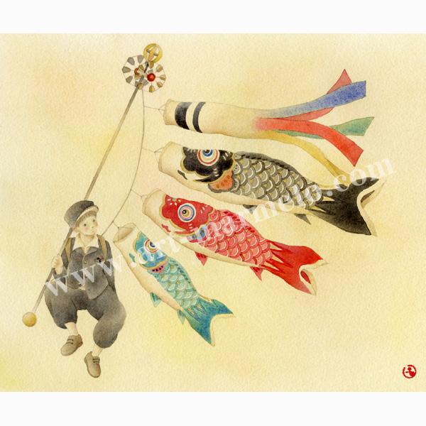 蓮田千尋の版画「コイノボリ」