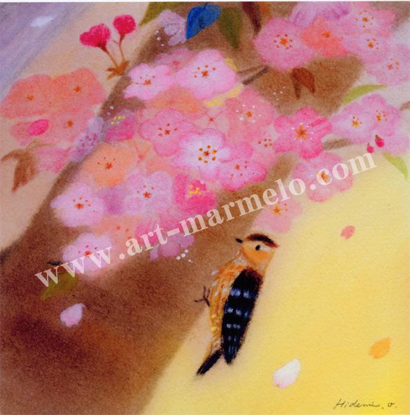 大西秀美の版画「花便り」