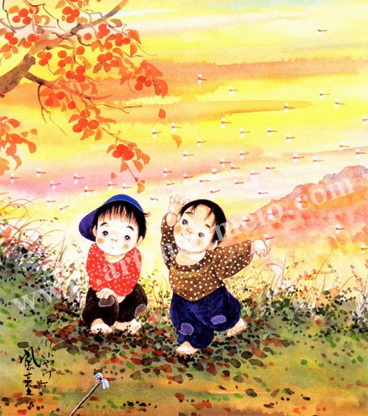 開田風童の色紙アートプリント「夕焼けこやけ」