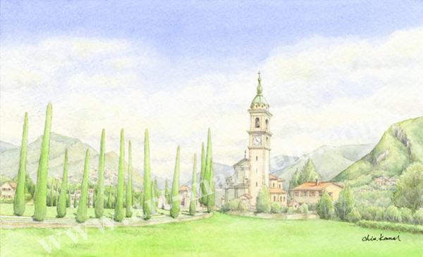 金井千絵の版画「サンアボンディニ教会」