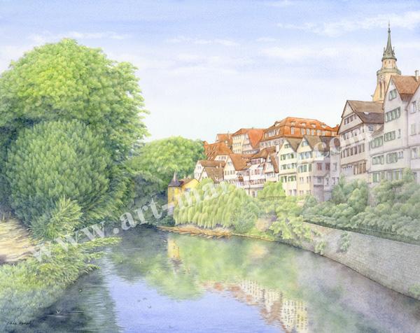 金井千絵の版画「ネッカー川ヘルダーリン塔」