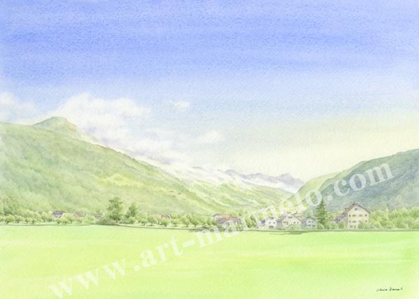 金井千絵の版画「雲の旅立ち」