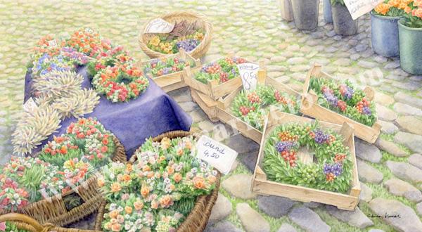 金井千絵の版画「市場はパレットNo.2」